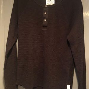 Lucky Brand Lived in Thermal Top Black Size Medium